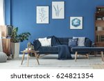 cyan living room with navy sofa ... | Shutterstock . vector #624821354