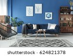 blue up to date decor of lounge ... | Shutterstock . vector #624821378