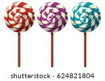 three flavors of lollipops | Shutterstock .eps vector #624821804