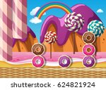 scene with donuts and lollipops ... | Shutterstock .eps vector #624821924