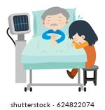 dead man on hospital bed and... | Shutterstock .eps vector #624822074