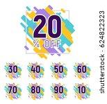 set of colorful pixel discounts.... | Shutterstock .eps vector #624822323