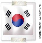 korean flag in frame on white | Shutterstock .eps vector #624824978