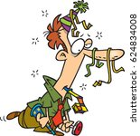 cartoon man tired from partying   Shutterstock .eps vector #624834008