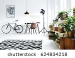 modern  white room with green... | Shutterstock . vector #624834218