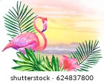 Flamingos And Tropical Leaves...