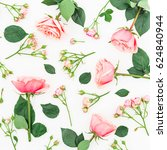 floral pattern of pink roses