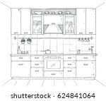 hand drawn kitchen furniture.... | Shutterstock .eps vector #624841064