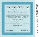 light blue certificate template ... | Shutterstock .eps vector #624842888