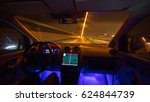 the man drive with a gps on the ... | Shutterstock . vector #624844739