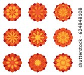 set of color flowers flat icons | Shutterstock .eps vector #624848108