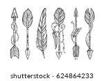 vector doodle bow arrow... | Shutterstock .eps vector #624864233