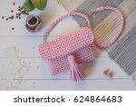 female handbag handmade pink... | Shutterstock . vector #624864683