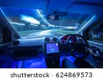 the man drive a car with a gps... | Shutterstock . vector #624869573