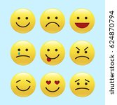 set of emoticons  icon pack ... | Shutterstock .eps vector #624870794