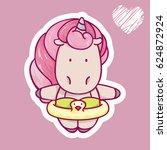 girl cartoon unicorn in... | Shutterstock .eps vector #624872924