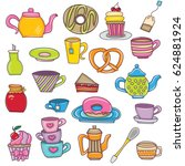 tea time cartoon elements set.... | Shutterstock .eps vector #624881924
