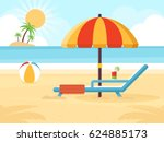 beach landscape with beach... | Shutterstock .eps vector #624885173