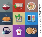 asian food flat icons with... | Shutterstock .eps vector #624887498