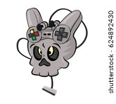 skull playing video games... | Shutterstock .eps vector #624892430