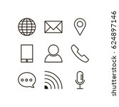 contact icon set vector line | Shutterstock .eps vector #624897146