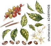 Set Of Red Coffee Arabica Bean...