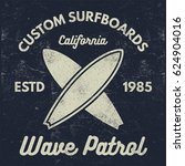 vintage surfing tee design.... | Shutterstock . vector #624904016
