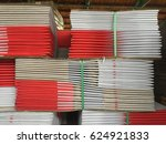 stack of new folded paper box. | Shutterstock . vector #624921833