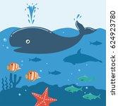 illustration of whale underwater   Shutterstock .eps vector #624923780