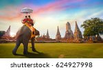 tourists with an elephant at... | Shutterstock . vector #624927998