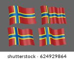 3d waving flag of orkney... | Shutterstock .eps vector #624929864