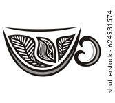 cup of green tea with leaves.... | Shutterstock .eps vector #624931574