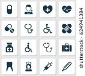 medicine icons set. collection... | Shutterstock .eps vector #624941384