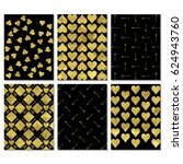 set of black and gold  greeting ... | Shutterstock .eps vector #624943760