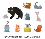 cute cats character different... | Shutterstock .eps vector #624965486