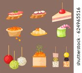 various meat canape snacks... | Shutterstock .eps vector #624965516