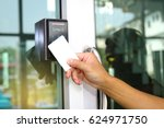 close up hand inserting keycard ... | Shutterstock . vector #624971750