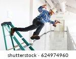 senior worker falling off...   Shutterstock . vector #624974960