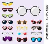 fashion set sunglasses... | Shutterstock .eps vector #624975809