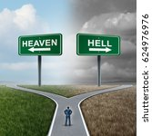 heaven and hell crossroad life... | Shutterstock . vector #624976976
