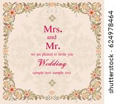 vintage invitation and wedding... | Shutterstock .eps vector #624978464
