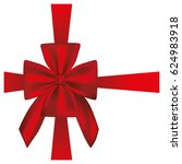 elegant silk red ribbon and bow ... | Shutterstock .eps vector #624983918