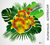 tropical leaves with yellow... | Shutterstock .eps vector #624984149