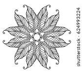 zentangle feather mandala  page ... | Shutterstock .eps vector #624993224