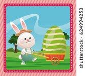 happy easter bunny carrying egg ...   Shutterstock .eps vector #624994253