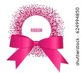 card with pink ribbon and bow.... | Shutterstock .eps vector #624994850