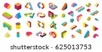 big set  isometric blocks.... | Shutterstock .eps vector #625013753