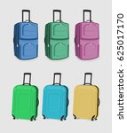 the set of suitcases. six carry ... | Shutterstock .eps vector #625017170