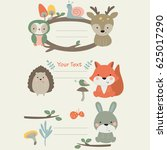 cute forest animals in cartoon... | Shutterstock .eps vector #625017290