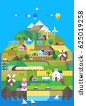 mountain landscape. ecological... | Shutterstock .eps vector #625019258